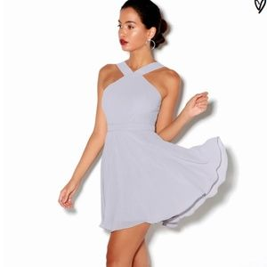 NWT Lulu's Forevermore gray skater halter dress
